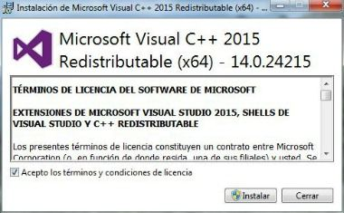 microsoft visual c++ 2015 librería dll